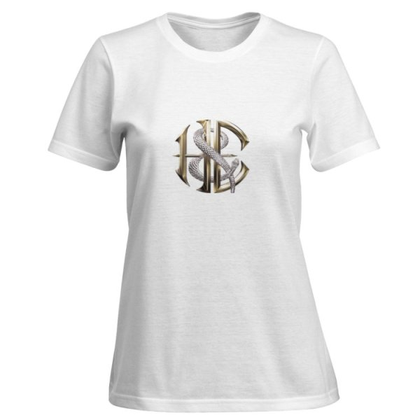 Women's White Rock T-Shirt with Gold Heaven and Earth logo with Snake in Silver