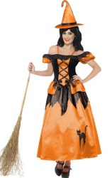 halloween costume witch storybook costumes adult orange bruja witches mujer disfraz dress long ladies naranja sorciere outfit negro hexe deguisement