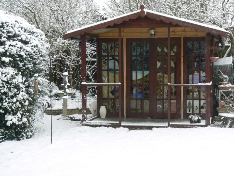 Glass-Painted Summerhouse Doors My sacred space in winter