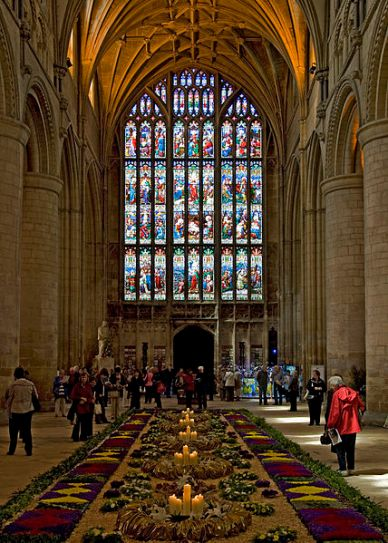 Gloucester Cathedral Flowers and Stained Glass Window