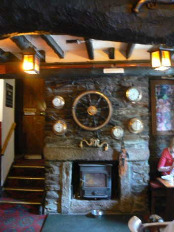 Old wreckers pub in Cornwall with secret smugglers' passage behind the fire