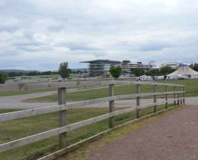 Cheltenham Racecourse with circus in distance