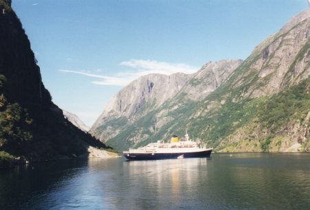 Cruise ship stuck in the fjord in Norway