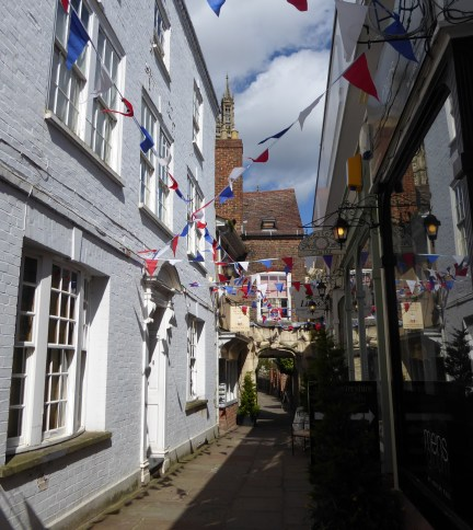 View down college court from the actual tailor's shop which is now a pub