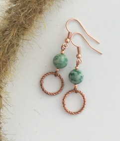 Green gemstome and copper earrings
