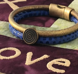 Leather bracelets blue gold brass