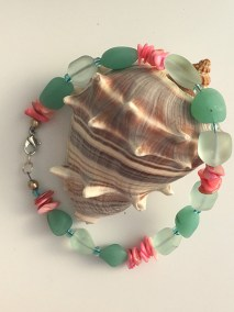 Sea glass and shell anklet