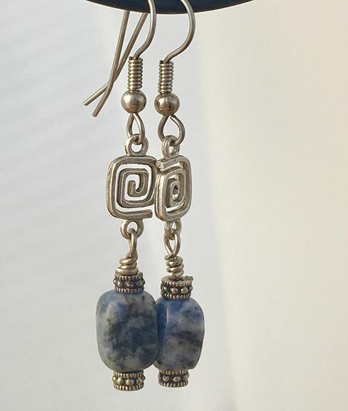 blue denim lapiz beads dangle earrings