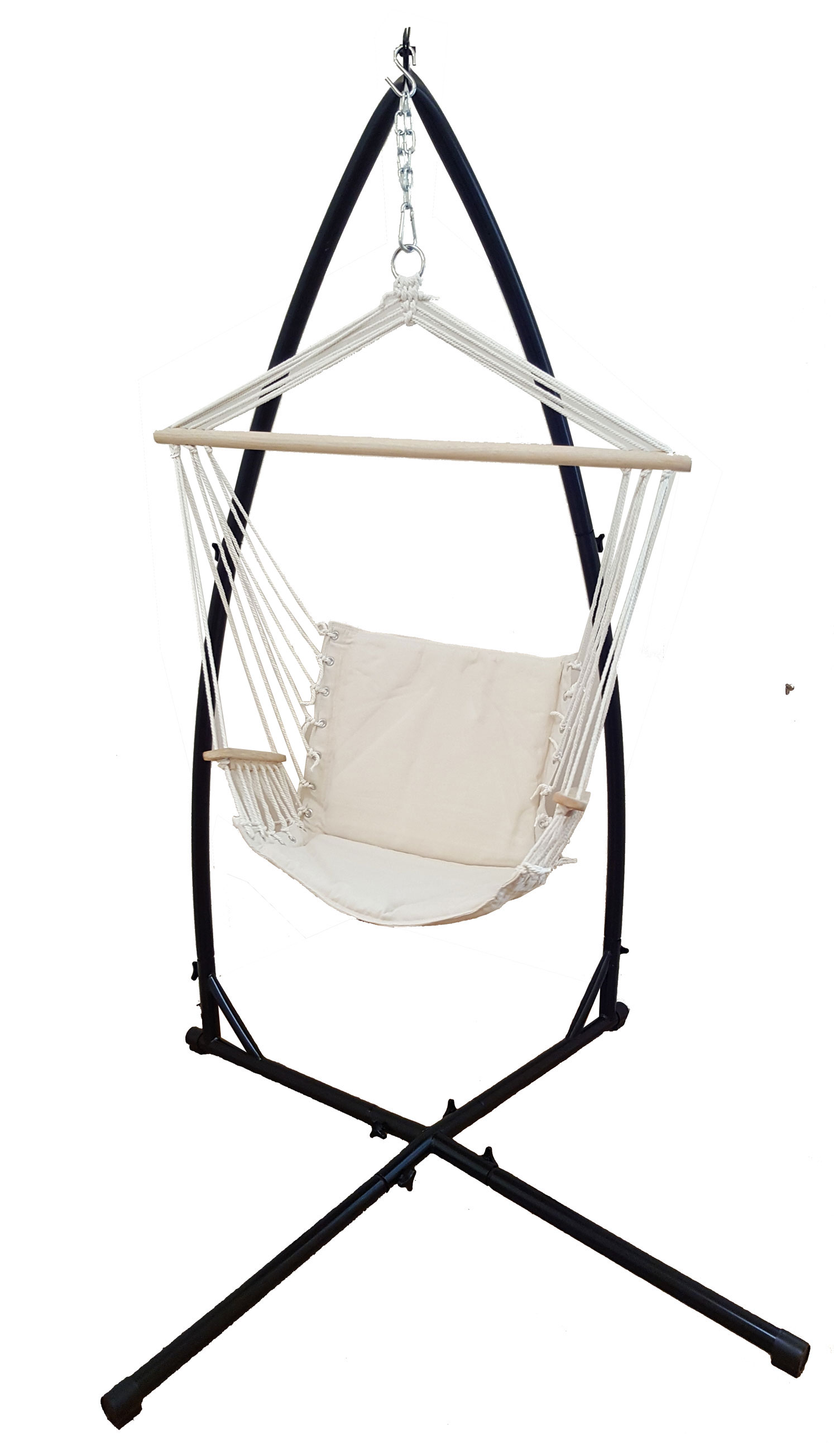 Chair Stand Beige Padded Hammock Chair With Wooden Arm Rests With