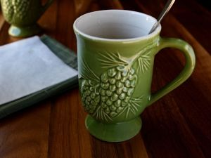 Irish Coffee Mugs, Set of 4, Green Embossed Pinecone Pattern | www.heavenlyhomecooking.com