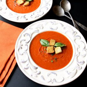 Tomato Soup for Two | This delicious homemade tomato soup is well-portioned for two. In just 30 minutes, you will have a tasty, light and comforting lunch! | heavenlyhomecooking.com