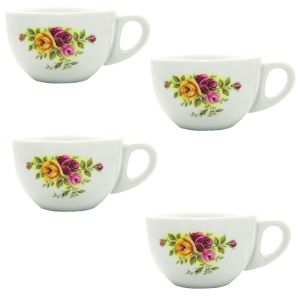 Vintage Rose Espresso Cups, Set of 4 | This lovely set of espresso cups is made to last. Fully vitrified to resist chipping. They would make a great gift! | heavenlyhomecooking.com