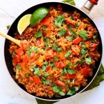 Taco Skillet | I love a one-pan recipe. Hearty, tasty and easy. A great weeknight meal that the whole family will love! | heavenlyhomecooking.com