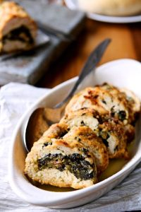 Turkey Roulade | A wonderful alternative to roasting a whole turkey for Thanksgiving. A mixture of tart apples, onions and spinach is wrapped up in a turkey breast tenderloin, and covered with seasoned bread crumbs. It would also make a great dinner for any time of year! | heavenlyhomecooking.com