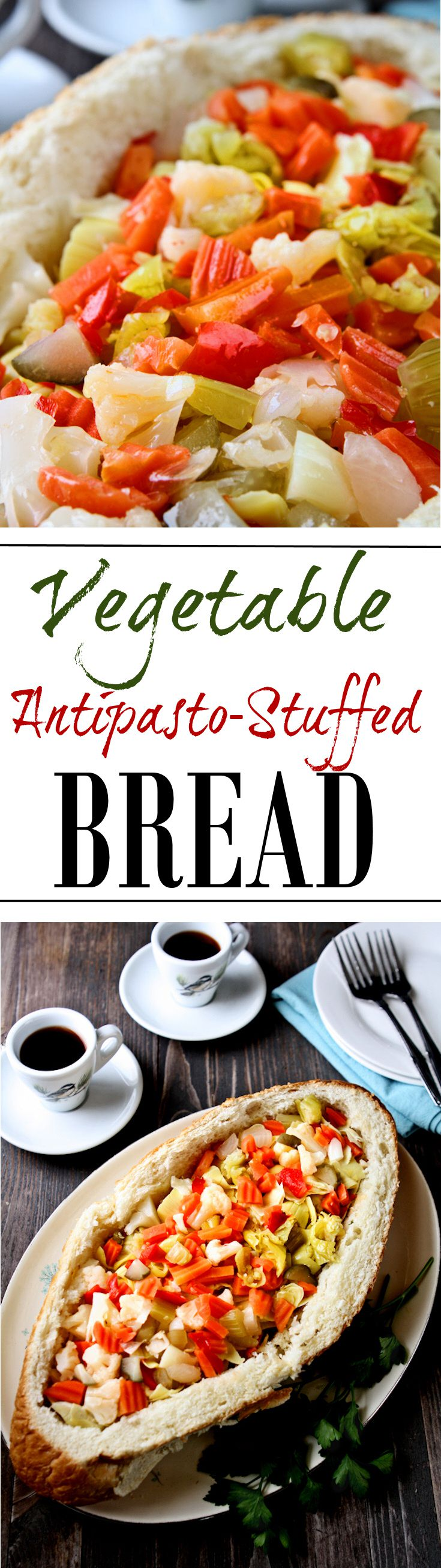 Vegetable Antipasto-Stuffed Bread | This is such a tasty vegetarian antipasto stuffed bread. Plus, you can pull this delicious appetizer together in 30 minutes or less! | heavenlyhomecooking.com