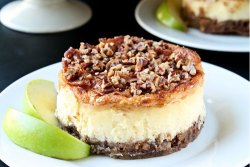 Apple Pecan Cheesecake | Creamy and delicious individual cheesecakes topped with cinnamon, apples and pecans | heavenlyhomecooking.com