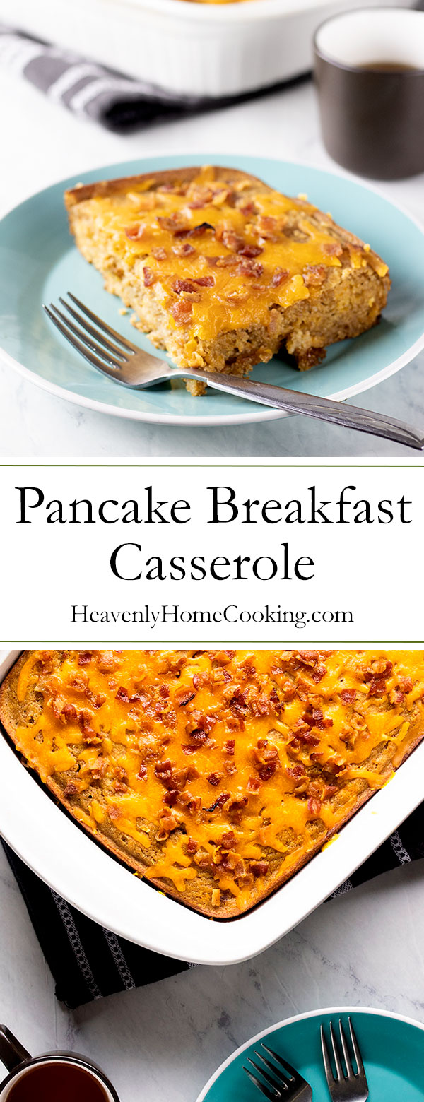 Pancake Breakfast Casserole | This hearty and healthy whole grain pancake breakfast casserole packs 15 grams of protein that will keep you satisfied all morning. It's the perfect brunch recipe idea that will free you from the griddle so that you can enjoy the company of your guests. It is also a great make ahead and freeze breakfast recipe. Serve with warm maple syrup. | www.heavenlyhomecooking.com
