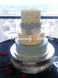 Heavenly Sweets Custom Wedding Cake with butter cream ruffles and vintage roses