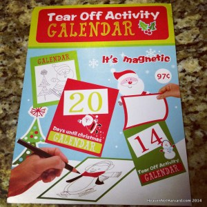 Tear Off Activity Advent Calendar - Heaven Not Harvard