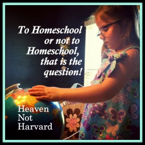 Trying to decide if homeschooling is the right answer for our family. Weighing the pros and cons is hard when we don't know all of the potential results of either choice. Heaven Not Harvard