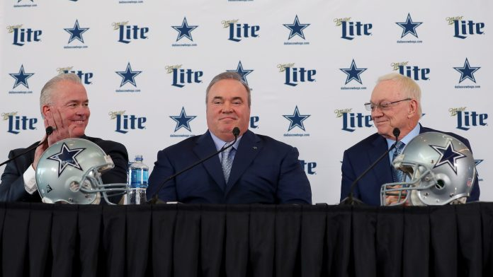 Cowboys VP Stephen Jones, HC Mike McCarthy, owner Jerry Jones