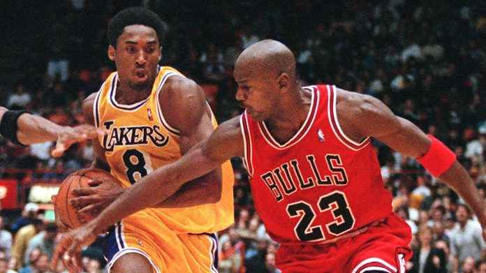 Kobe Bryant, at left, and Michael Jordan
