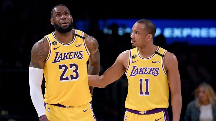 LeBron James, left, and Avery Bradley of the Lakers