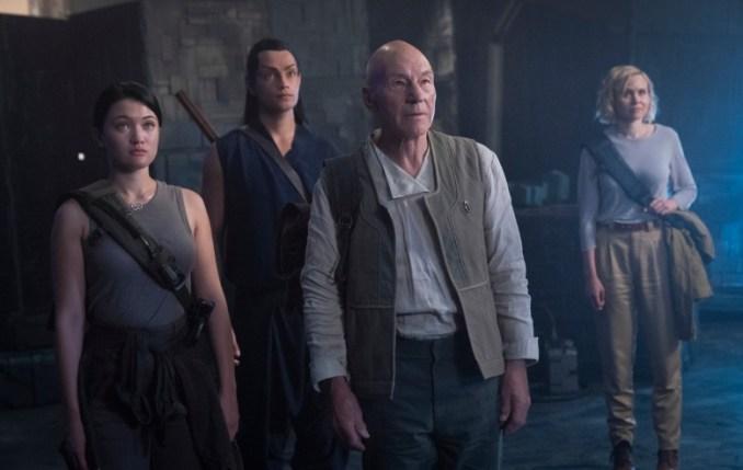 Isa Briones as Soji; Evan Evagora as Elnor; Sir Patrick Stewart as Jean-Luc Picard; Alison Pill as Agnes Jurati; of the the CBS All Access series STAR TREK: PICARD