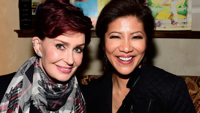 """Sharon Osbourne (L) and Julie Chen attend a celebration for Linda Perry's song """"Hands Of Love"""""""