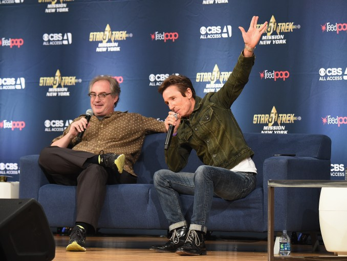 ohn Billingsley (L) and Dominic Keating from Star Trek: Enterprise take part in a panel discussion during Star Trek: Mission New York at Javits Center on September 2, 2016