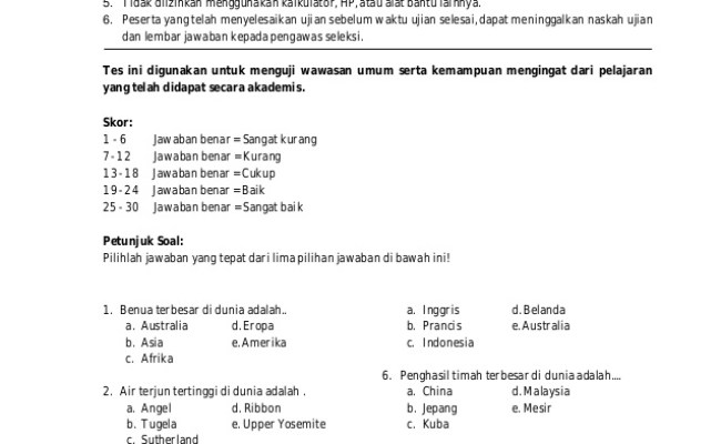 Contoh Soal Ujian Cpns Tes Pengetahuan Umum Heavyassets Resep Kuini