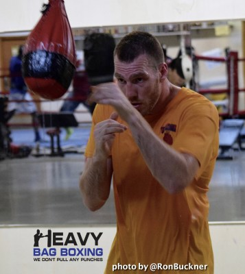 Jordan Shimmell working hard in the gym to prepare for his IBF World Title Eliminator May 17th.