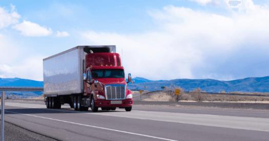 Semi truck on highway.