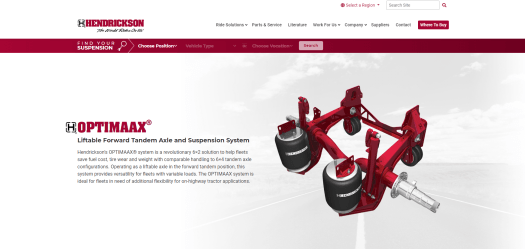 OPTIMAAX liftable forward tandem axle and suspension system.