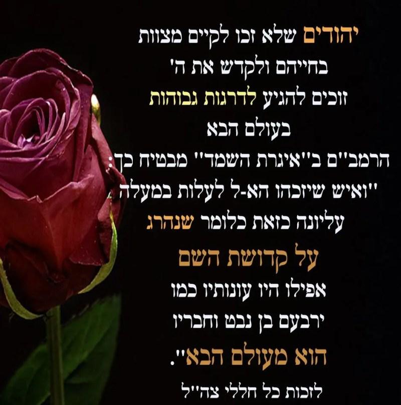 אף יהודי שחטא ונהרג על קידוש ה' - זוכה לדרגה הגבוהה