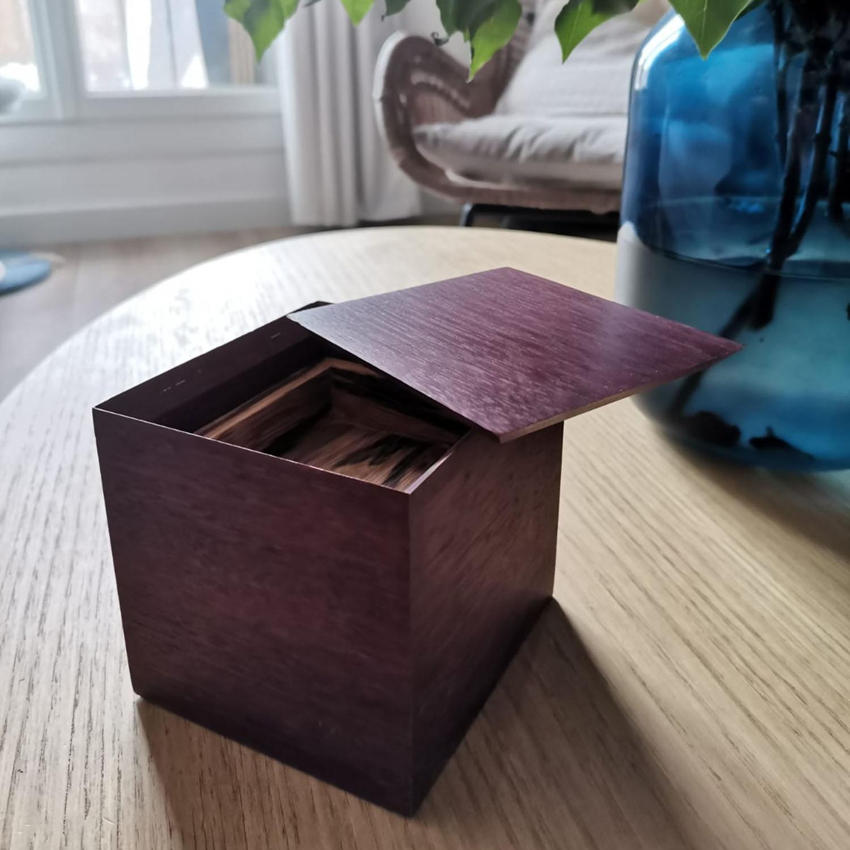 Boîte en bois design contemporaine et sur mesure, ébéniste, ébénisterie, woodwork