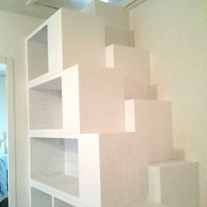 escaliers sur mesure, escalier, bois, pas japonais, peuplier, rénovation, menuisier, agenceur, ébéniste, vannes, morbihan, aménagement intérieur, ambiance nordique