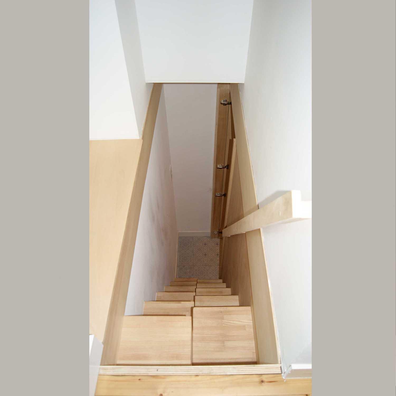 escaliers sur mesure, escalier, bois, pas japonais, peuplier, rénovation, menuisier, agenceur, ébéniste, île aux moines, vannes, morbihan, aménagement intérieur, ambiance nordique