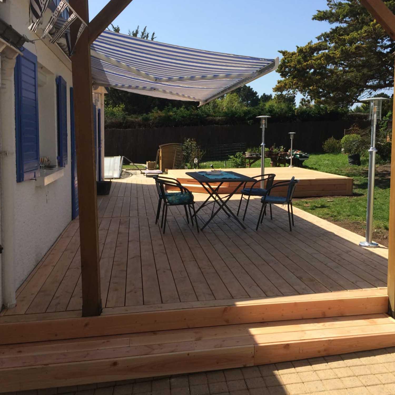 terrasse sur mesure, terrasse bois, terrasse extérieure, menuisier, agenceur, ébéniste, Vannes, Saint-Armel, Morbihan, Presqu'île de Rhuys