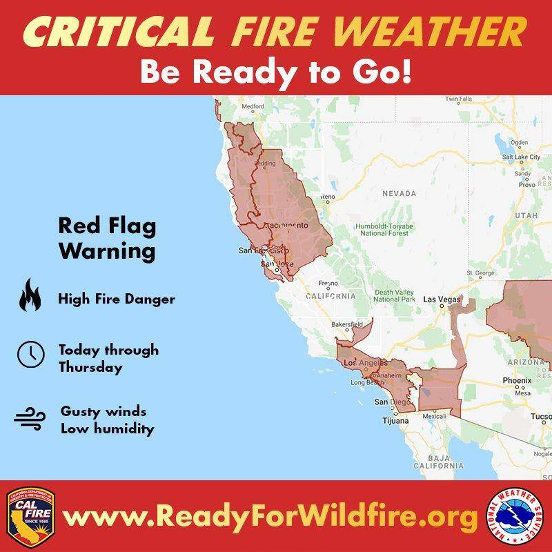 Map of critical fire weather