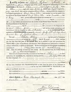 Charles Hebron's Enlistment Record (Back)