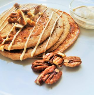 Whole Wheat Ginger Chai Pancakes with Cinnamon Maple Cream Cheese