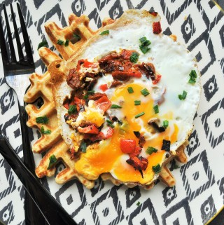 Chive, Roasted Peppers and Sundried tomato Eggs Breakfast With Oat Waffles