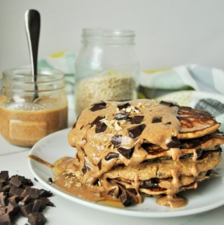 Peanut Butter and Dark Chocolate Chunk Oat Pancakes (Gluten Free)