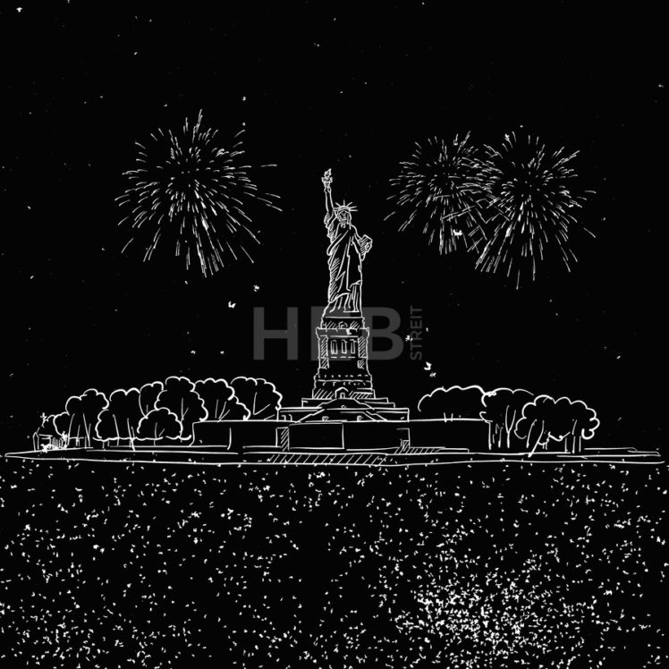 Lady Liberty by Night with Firework Sketch