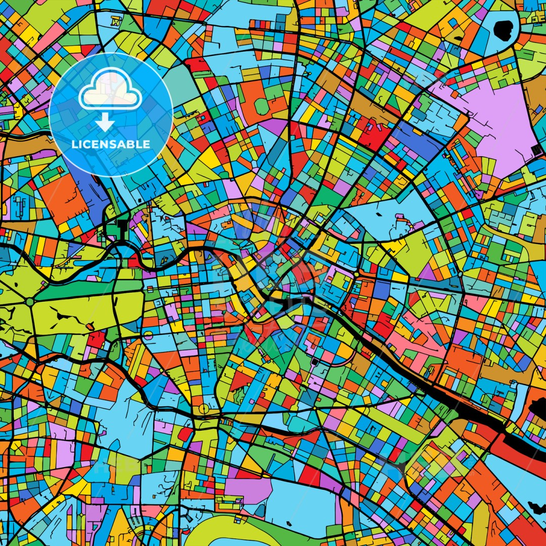 Berlin Colorful Vector Map on Black