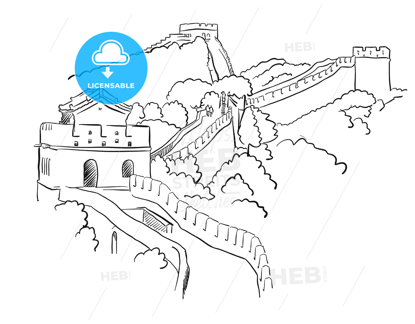 China Great Wall Vector Sketch