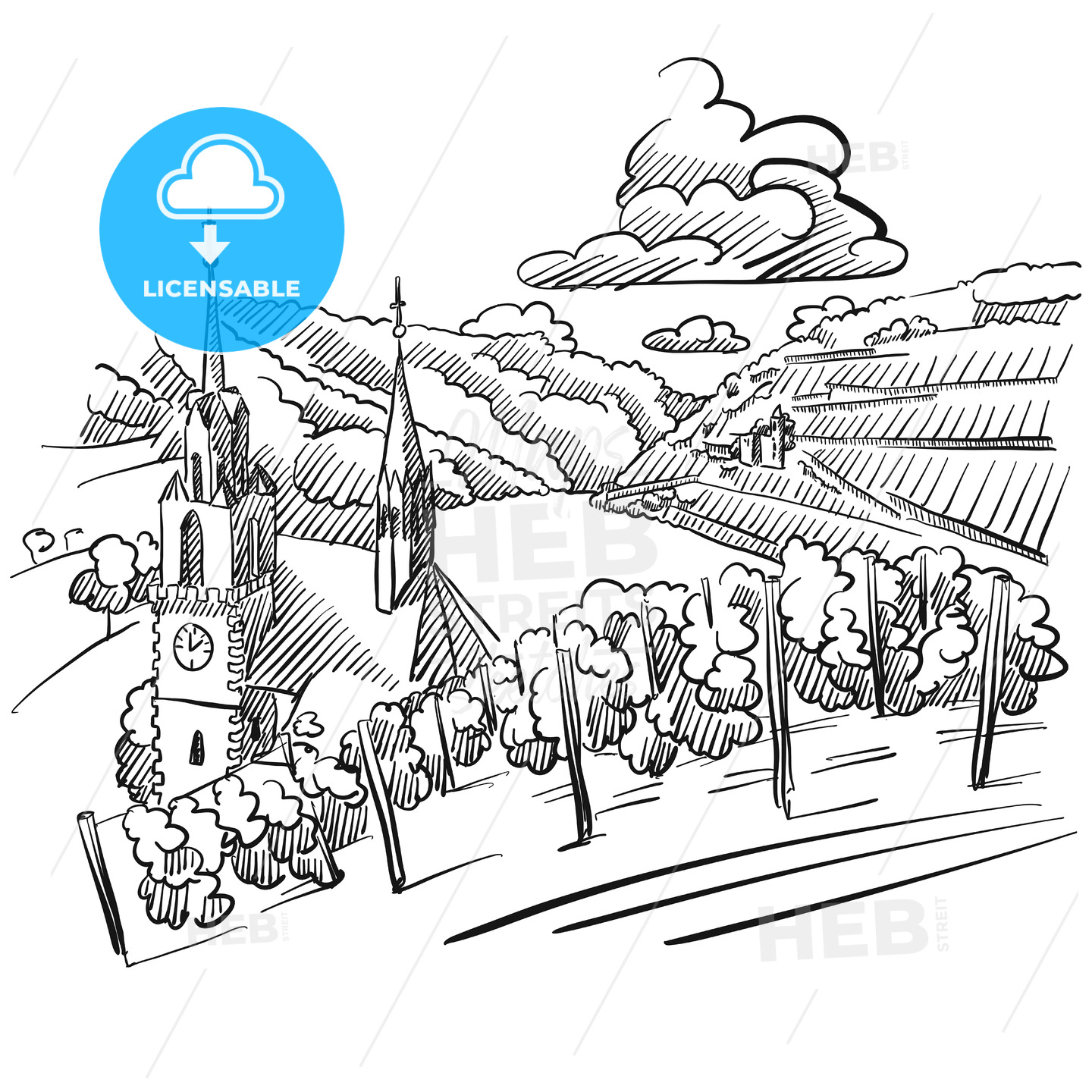 German Vineyard Sketch with Church, River and Hills