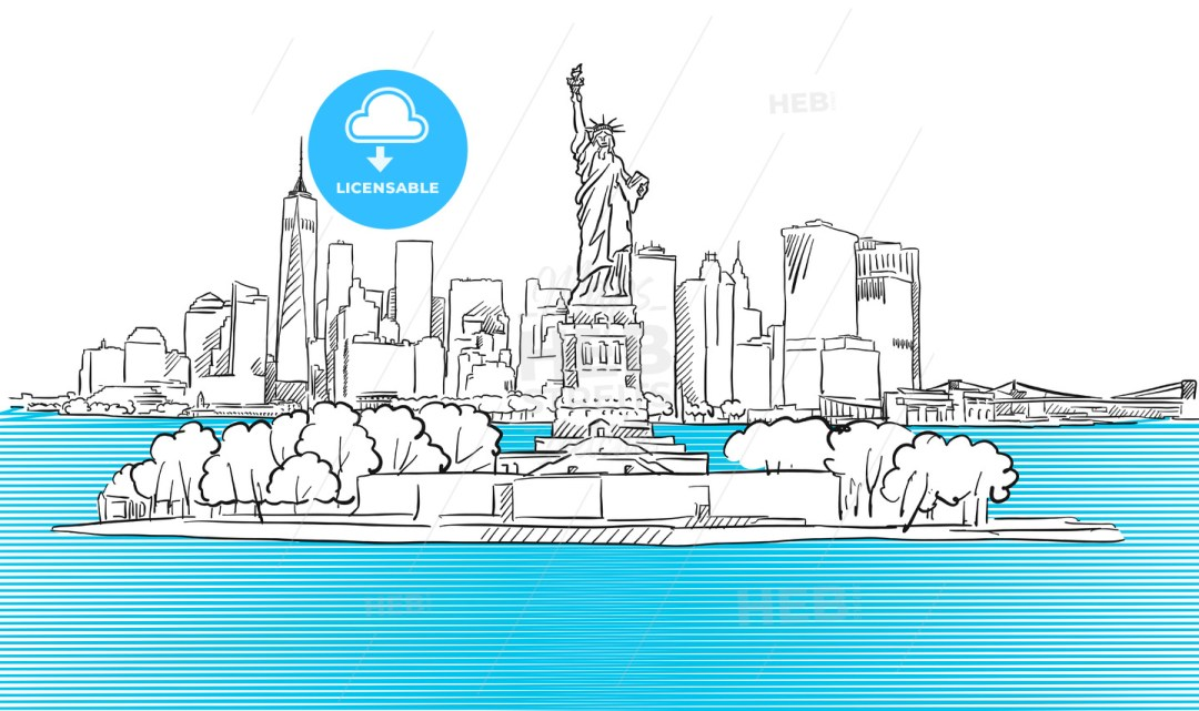 Liberty Statue with New York City Skyline Sketch