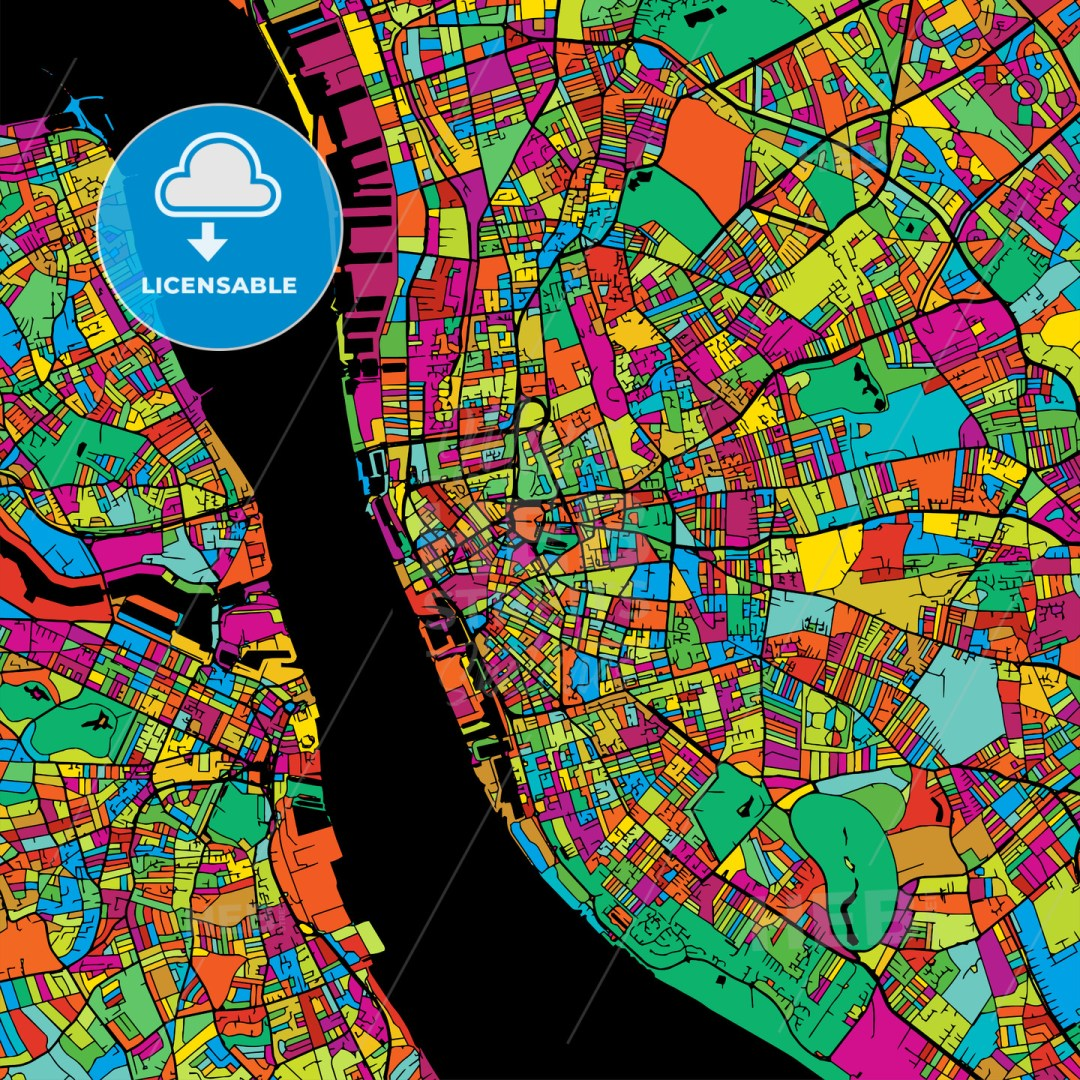 Liverpool Colorful Vector Map on Black